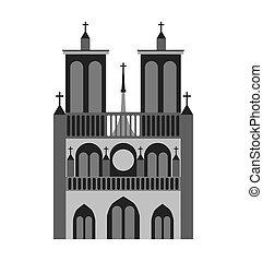 catedral notre dame france icon vector illustration design