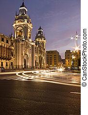 catedral on plaza de armas mayor lima peru night scene with movement streaks