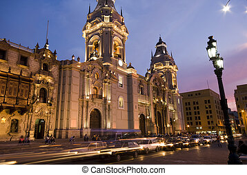 catedral at night on plaza de armas also known as plaza mayor lima peru