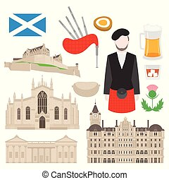 catedral, plano, señal, cardo, escocés, turismo, unido,...
