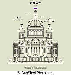 catedral, russia., señal, salvador, cristo, icono, moscú