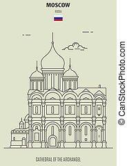catedral, señal, arcángel, russia., icono, moscú