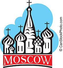 catedral, st., quadrado, basil's, vermelho