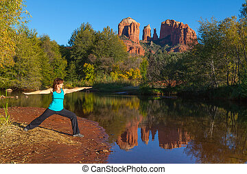 catedral, yoga, roca