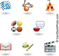 categoría, tela, educación, brillante, iconos