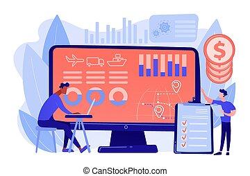 catena, analytics, fornitura, vettore, concetto, illustrazione