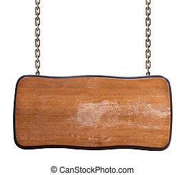 catena, cartello, isolato, portato, legno, bianco