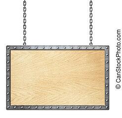 catena, cornice, cartello, isolato, legno, bianco, o