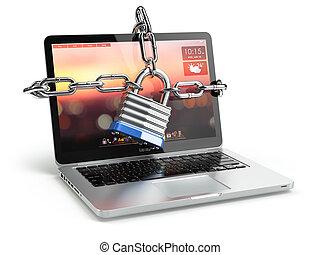 catena,  laptop, serratura, concetto,  computer, sicurezza, tastiera, sicurezza, o