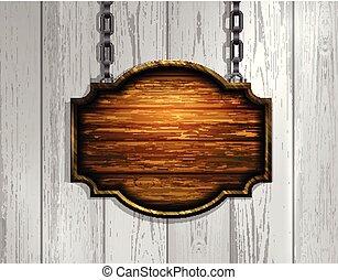 catena, legno, appendere, cartello, isolato, fondo, vuoto, bianco