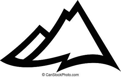 catena montuosa, vettore, icona