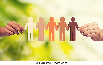 catena, persone, multirazziale, carta, tenere mani
