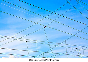 catenary in winter at the station