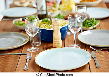table served with plates, wine glasses and food