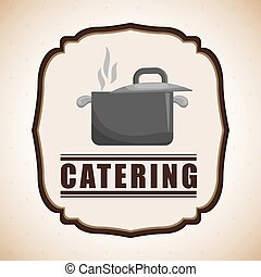 Catering and saucepan icon design