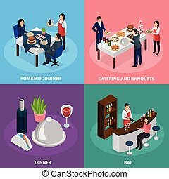 Catering Banquet Isometric Concept - Catering service...