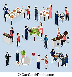 Catering Banquet Isometric Icons - Catering service...