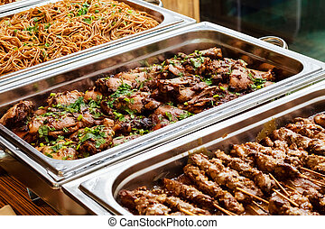 Catering buffet asian food take away dish
