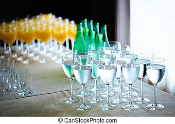 Catering drinks. Water, soda water, orange juice....