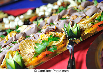Catering food arrangement on table