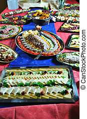 Catering food arrangement on table - Catering food at a ...