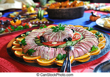 Catering food arrangement on table - Catering food at a...