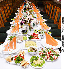 Catering food at a wedding party