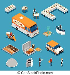 Catering Isometric Icons Set