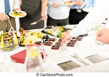 Catering mini dessert at business buffet table - Appetizers...