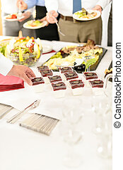 Catering mini dessert at business buffet table