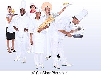 catering, profissionais, photo-montage