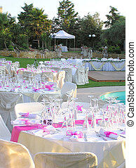 catering reception - catering setup by the pool