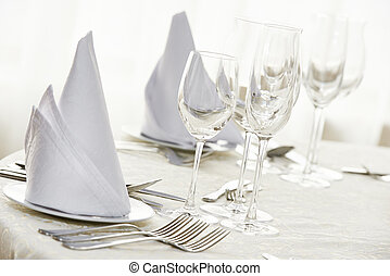Catering restaurant service. set table