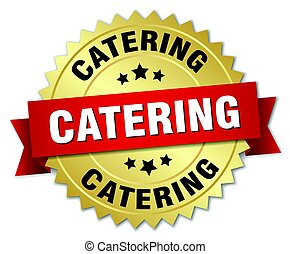 catering round isolated gold badge