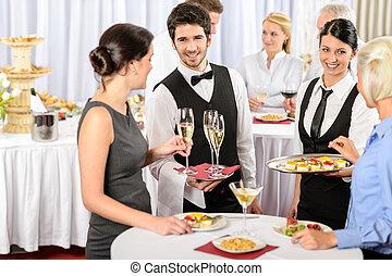 catering, serviço, em, companhia, evento, oferta, alimento