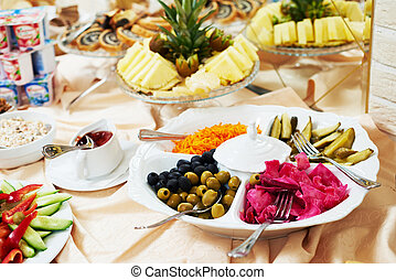 Catering service. food set table for breakfast