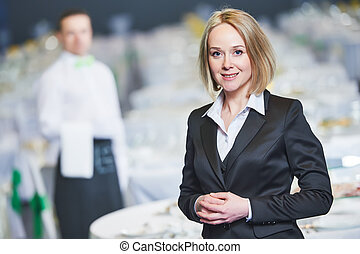 Catering service. Restaurant manager portrait