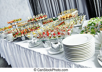 catering service table with food set - catering services ...