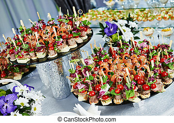 catering service table with food set - catering services...