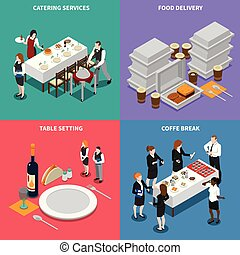 Catering Services Isometric Design Concept