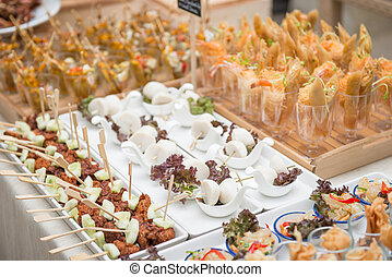 catering services on table at wedding party