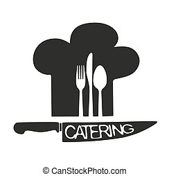 Catering - silhouette of toque, cutlery and knife as a ...
