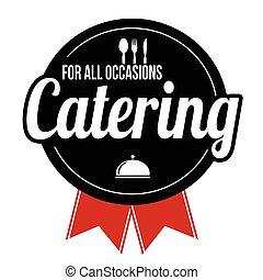 catering, sinal, ou, etiqueta