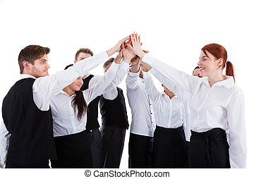Catering staff making high five gesture. Isolated on white