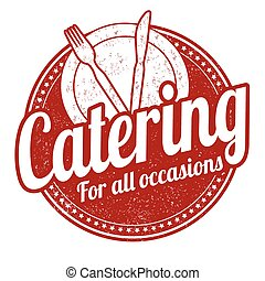 Catering stamp - Catering grunge rubber stamp on white...