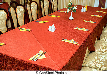 Catering table set service and glasses