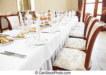 catering table set service at restaurant