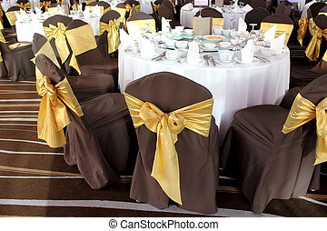 Catering table set service with silverware, napkin and glass...