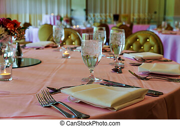 catering table set service with dish silverware and stemware glass restaurant before party