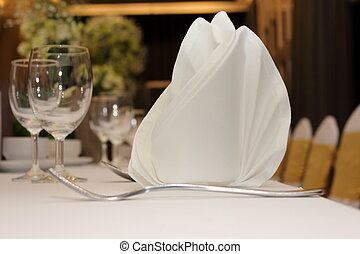 Catering table set service with silverware